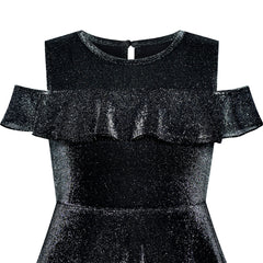 Girls Dress Off Shoulder Black Sparkling Ruffle Shoulder Casual Size 6-12 Years