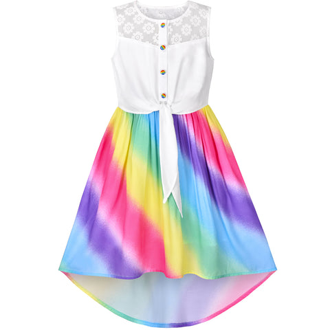 Girls Dress Chiffon Rainbow High-Low Tie Waist Party Princess Size 7-14 Years