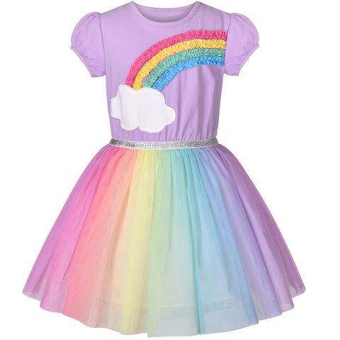 Girls Dress Purple Short Sleeve Rainbow Tulle Skirt Birthday Party Size 4-8 Years