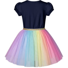 Girls Dress Navy Blue Short Sleeve Rainbow Tulle Skirt Birthday Party Size 4-8 Years