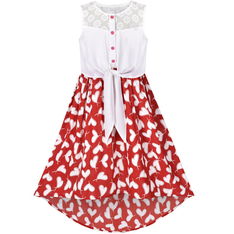 Girls Dress Chiffon Heart Lace High-Low Tie Waist Party Summer Size 7-14 Years