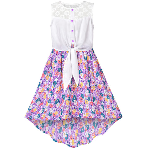 Girls Dress Chiffon Floral Lace High-Low Tie Waist Party Summer Size 7-14 Years