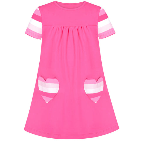 Girls Casual Dress Pink Cotton Short Sleeve Heart Pocket Size 3-8 Years