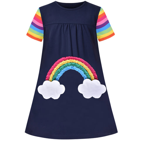 Girls Casual Dress Navy Blue Cotton Short Sleeve Rainbow Cloud Size 3-8 Years