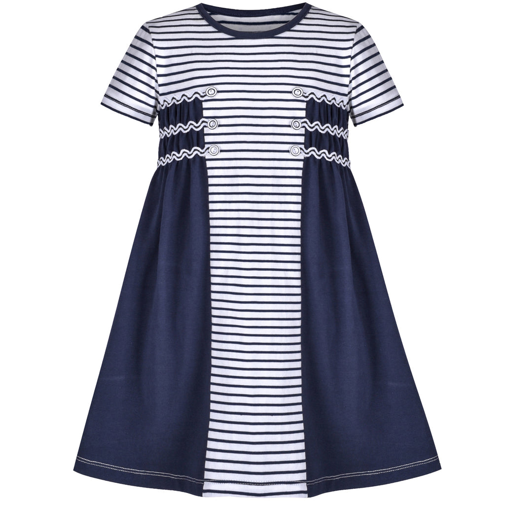 Girls Casual Dress Blue Striped White Cotton Short Sleeve Size 3-8 Years
