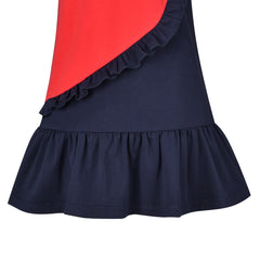 Girls Casual Dress Red Heart Cotton Short Sleeve Size 3-7 Years