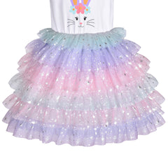 Girls Dress Tutu Dancing Tiered Skirt Easter Bunny Ballet Birthday Size 5-8 Years