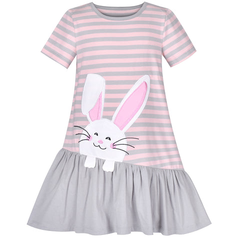 Girls Casual Dress Gray Easter Bunny Egg Hunting Cotton Short Sleeve Size 3-7 Years