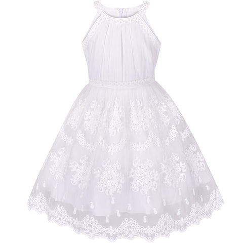 Girls Dress Off White Embroidered Flower Halter Dress Wedding Party Size 5-12 Years