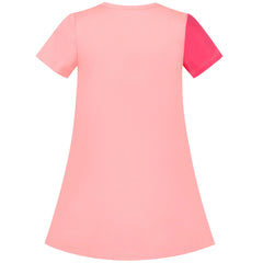 Girls Casual Dress Light Pink Cotton Short Sleeve Color Contrast Size 3-8 Years