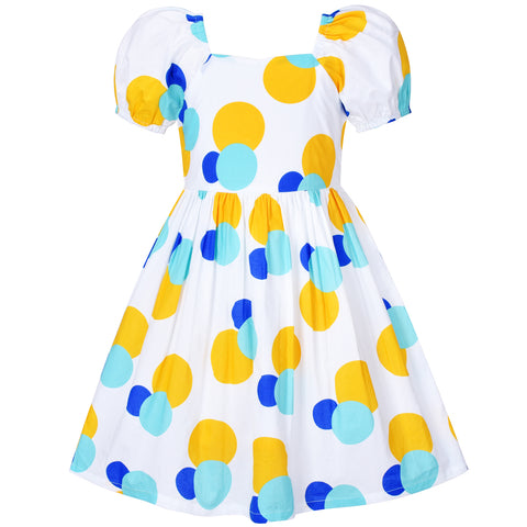 Girls Dress Vintage Short Sleeve Blue Yellow Polka Dot Cotton Casual Size 4-8 Years