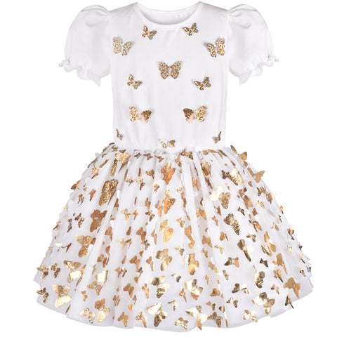 Girls Dress Gold Butterfly White Short Sleeve Tulle Tutu Dancing Size 4-8 Years