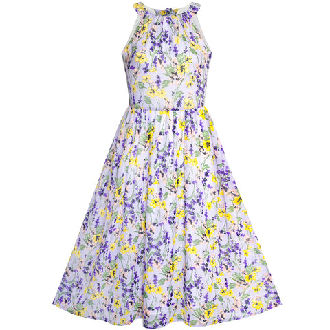 Women's Halter Purple Floral Printed Maxi Casual Party Dress
