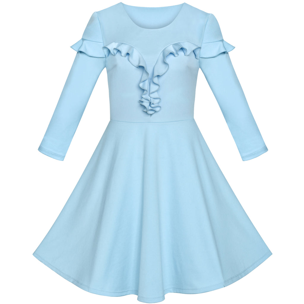 Women's Ruffled Decoration Long Sleeve Vintage Casual Party Dress