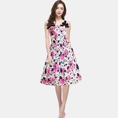 Women's Painting Flower Design Vintage Casual Party Cocktail Dress