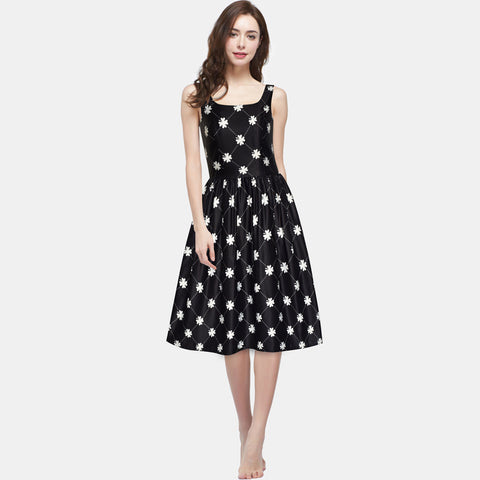 Women Clover Pattern Black Swing Casual Party Midi Tea Dress