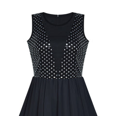 Women Sleeveless Sequin Sexy Chiffon Black Party Dress