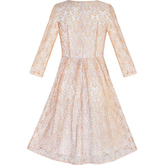 Women Beige Lace 3/4 Sleeve Vintage Casual Party Dress