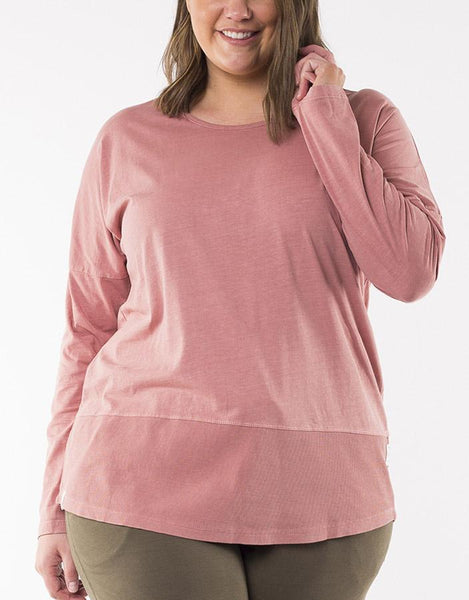Elm Embrace Fundamental Rib L/S Tee - Pink