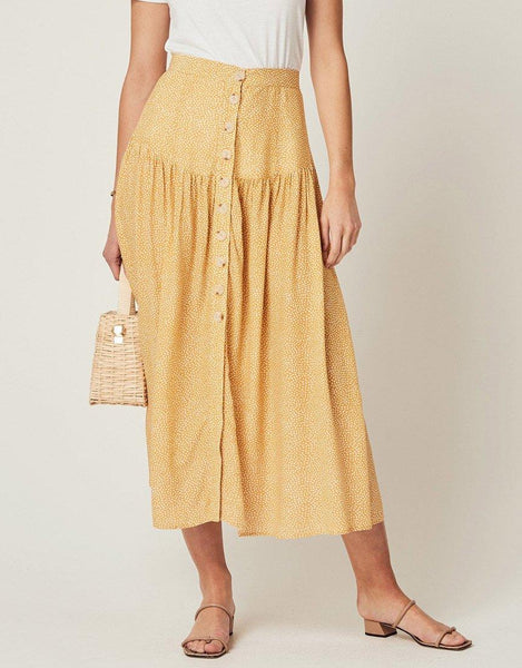 Auguste Tear Drop Brooks Midi Skirt - Golden Sand