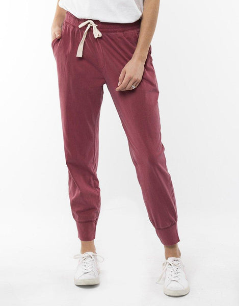 Elm Wash Out Lounge Pants - Red
