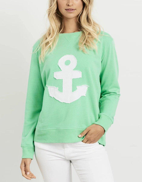 Est 1971 Frayed Anchor Windy - Apple Green