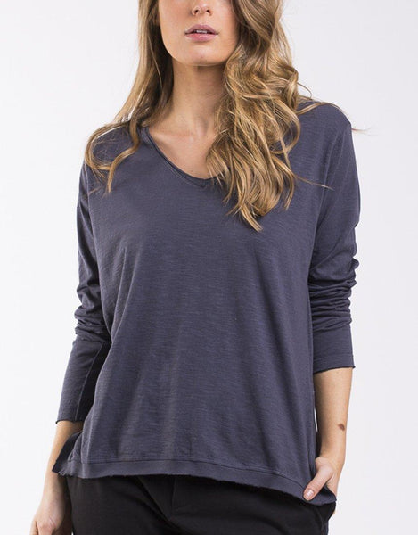 Foxwood Highline V Neck Top - Navy