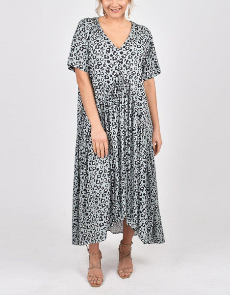 PQ Collection Peak Maxi Dress - Moss Leopard