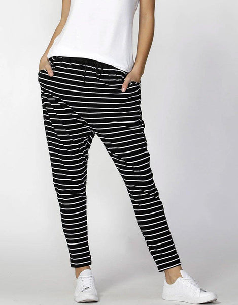 Betty Basics Essentials Jade Lounge Pants - Black / White Stripe