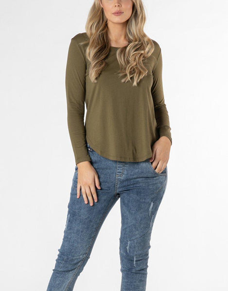 Betty Basics Essentials Megan Long Sleeve Top - Khaki