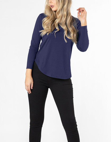 Betty Basics Essentials Megan Long Sleeve Top - Navy