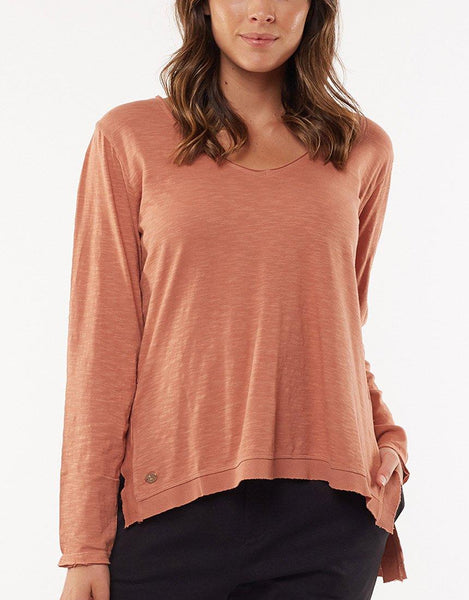 Highline V Neck Top - Bronze