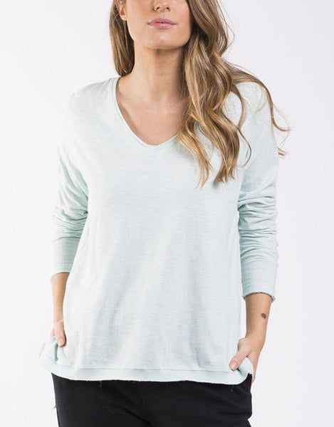 Highline V Neck Top - Sage Green