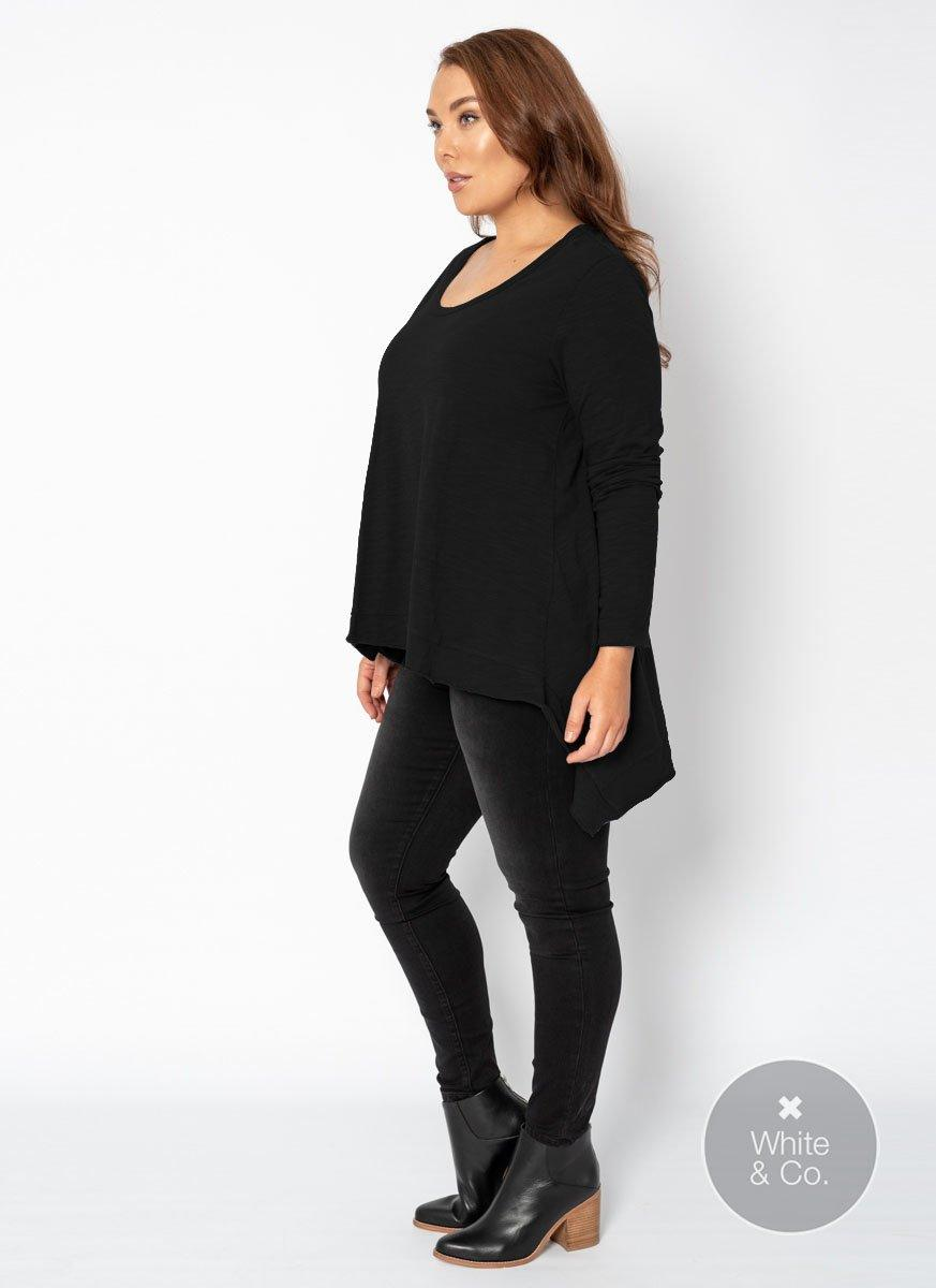 Plus Size 3rd Story Willow Long Sleeve Tee - Black
