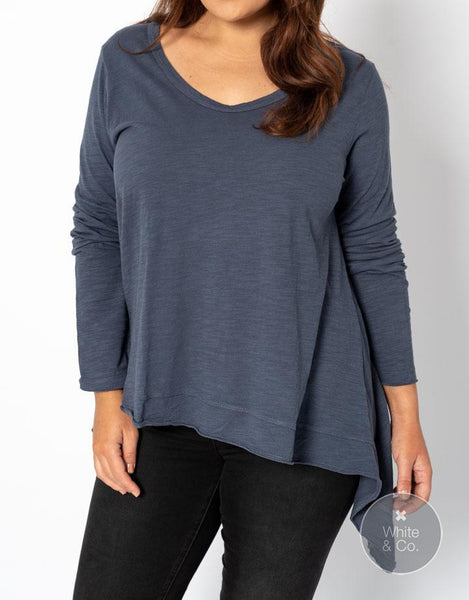 Plus Size 3rd Story Willow Long Sleeve Tee - Indigo
