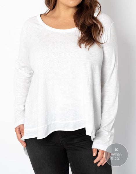 Plus Size 3rd Story Willow Long Sleeve Tee - White