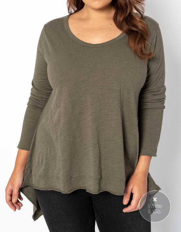 Plus Size 3rd Story Willow Long Sleeve Tee - Khaki