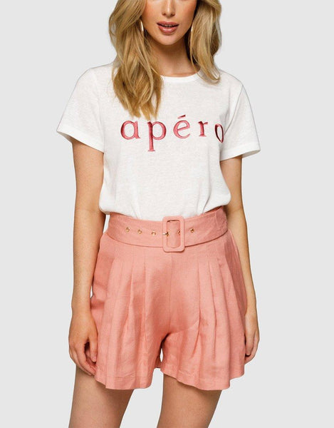 Apero Embroidered Femme Tee - White/Burnt Rose