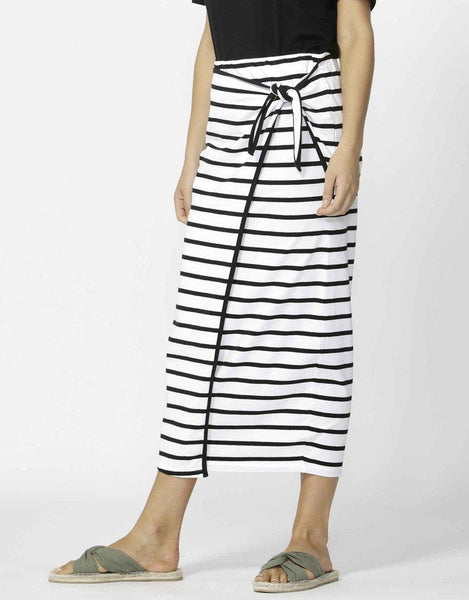 Lana Midi Skirt - Black/White Stripe