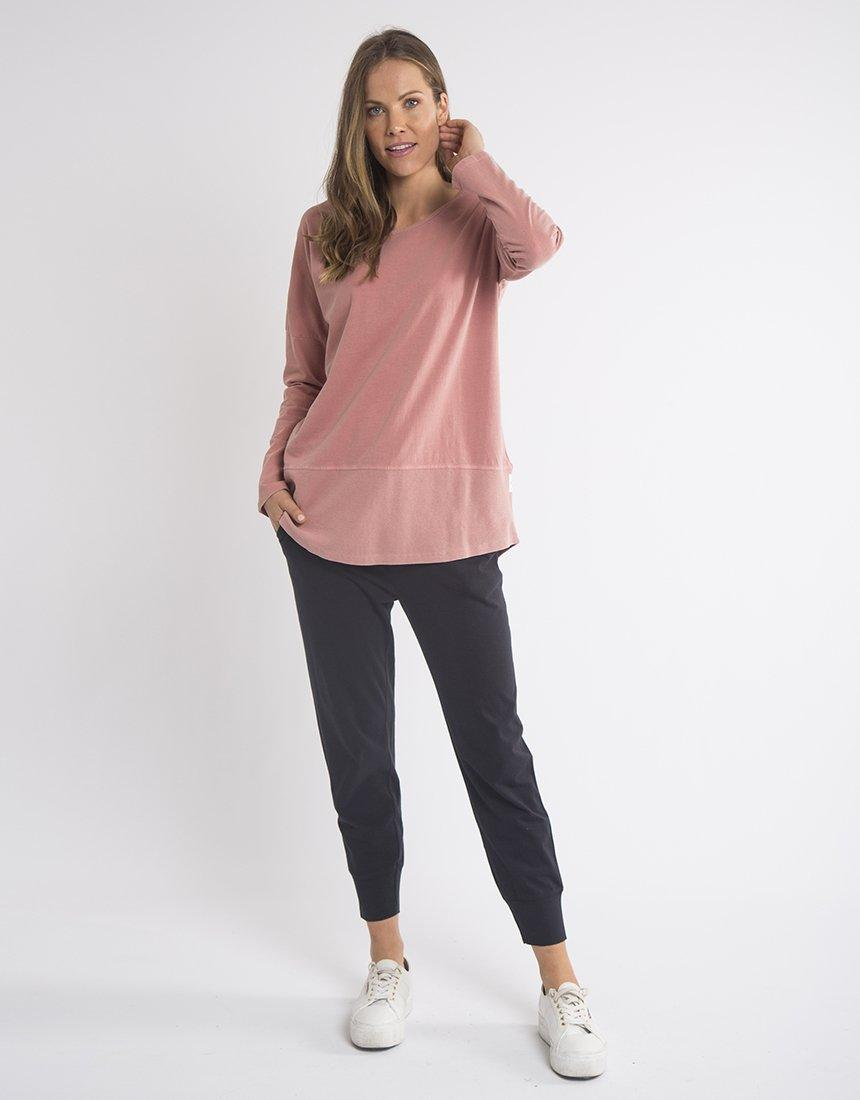 Elm Fundamental Long Sleeve Rib Tee - Dusty Pink