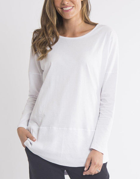 Elm Fundamental Long Sleeve Rib Tee - White