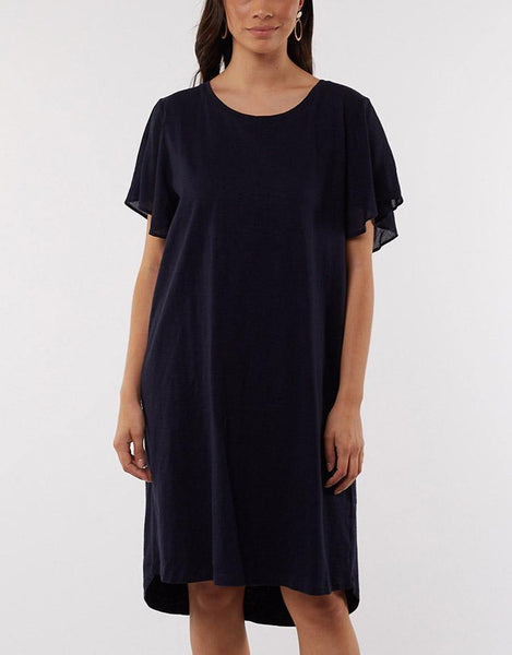 Elm Claire Flutter Sleeve Dress - Navy
