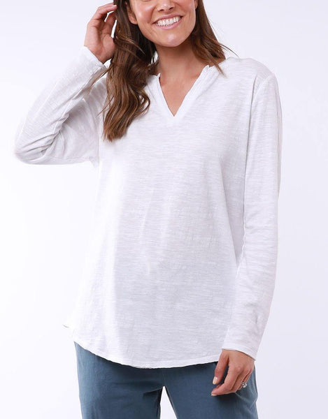 Elm Coles Bay Long Sleeve Henley - White