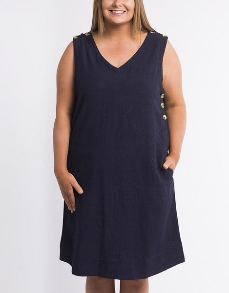 Elm Embrace Veronica Vee Shift Dress - Navy