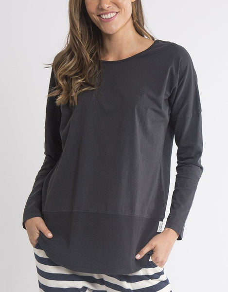 Elm Fundamental Long Sleeve Rib Tee - Washed Black