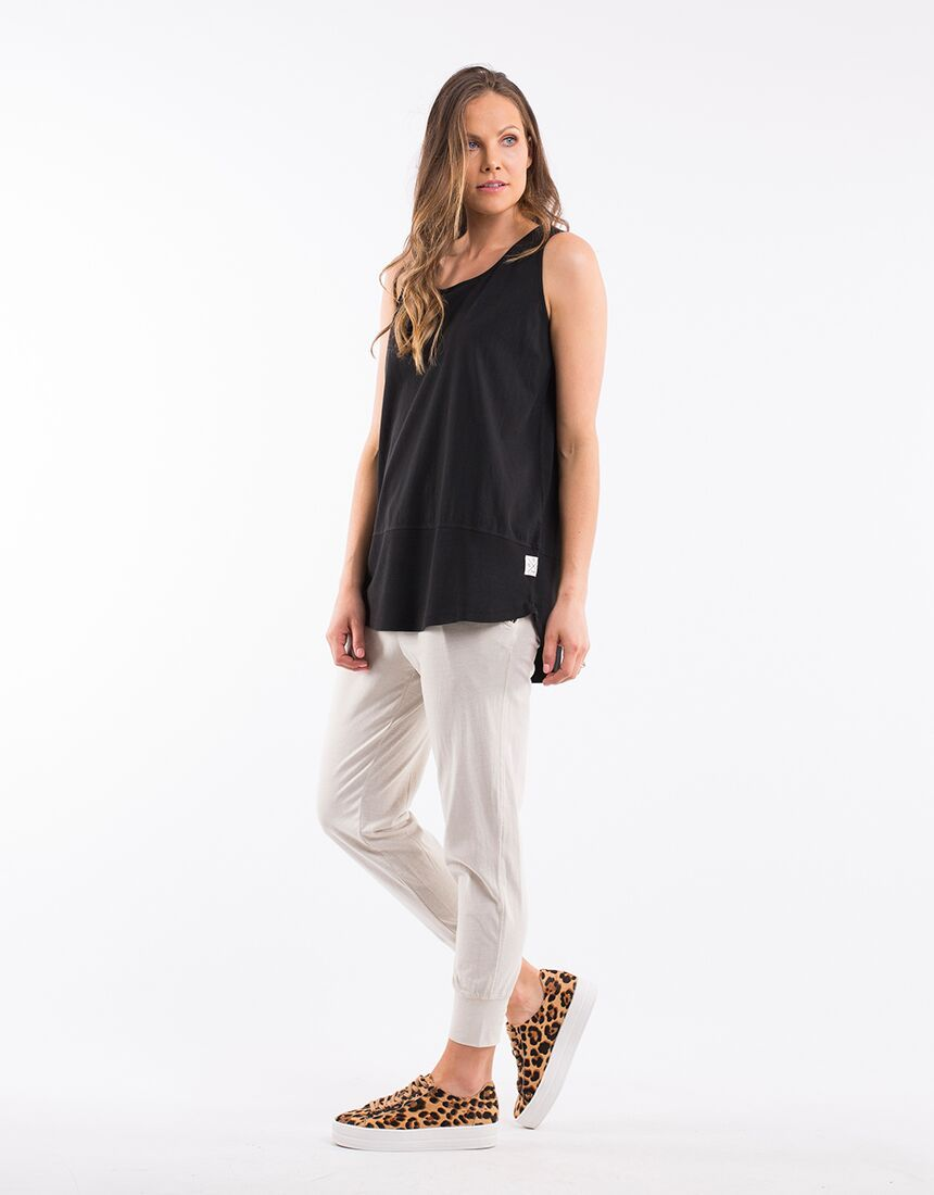 Elm Rib Tank - Washed Black