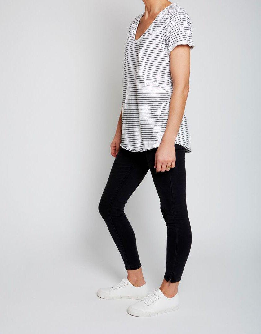 Elm Fundamental V Neck Tee - Black and White stripe