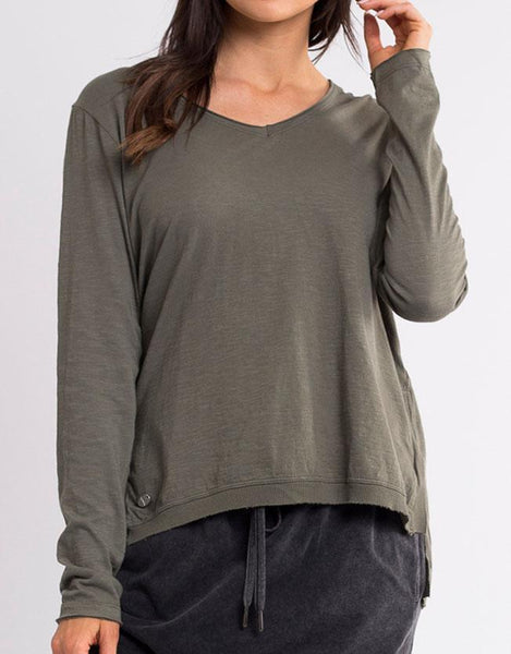Highline V Neck Top - Khaki
