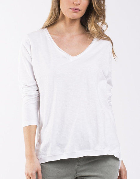 Highline V Neck Top - White