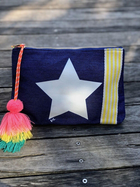 Hammill and Co Washed Navy and White Clutch